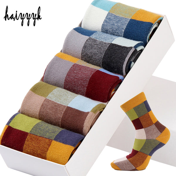 [5 Pairs] Combed Cotton Men's Socks Compression Socks Fashion with Colorful Square Happy Dress