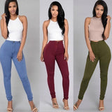 Fashion Plus Size 3XL High Waist Casual Stretch Women Pencil Pants Button Female Trousers Ladies Solid Colors Pencil Pants - ibspot