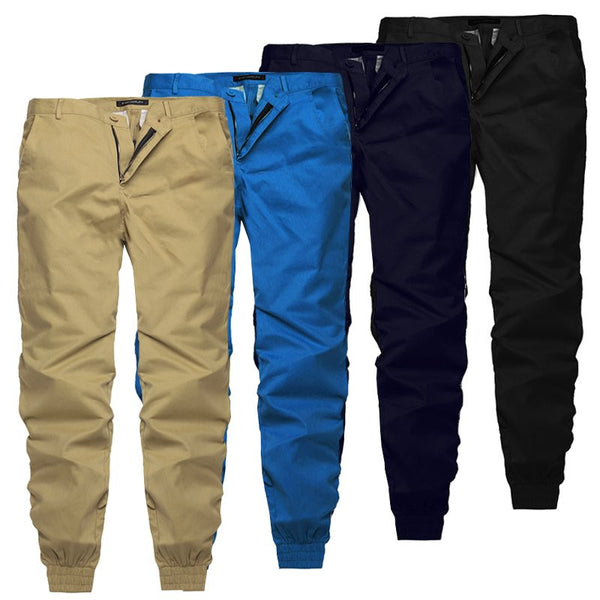 Men Casual Chinos Trousers Joggers Slim Fit Man Chinos Pants With Elastic Cuff Clothing Summer Autumn