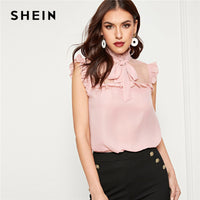 SHEIN Pink Dot Mesh Insert Frilled Tie Neck Shell Top Blouse Women Summer Solid Sleeveless Elegant Workwear Office Lady Blouses