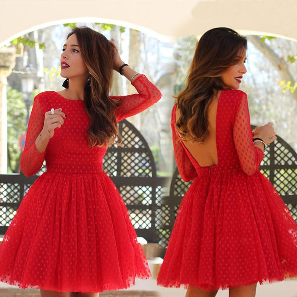 ZTVitality 2018 Vestidos Sexy Dot Full Backless O-Neck Gauze Dress Autumn Women Dresses Fashion Party Dress Vestido De Fiesta - ibspot