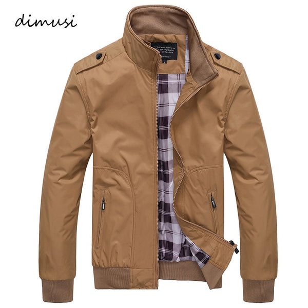 Mens Bomber Casual Coats Solid Color Jackets for Spring & Autumn - ibspot