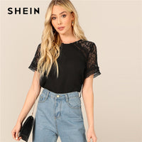 SHEIN Black Button Keyhole Back Short Short Lace Sleeve Sheer Top Solid Blouse Summer Women Casual Workwear Tops and Blouses