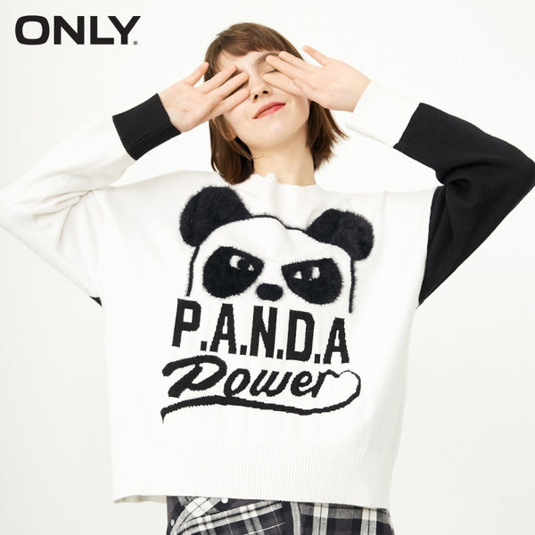 ONLY Women's Cartoon Pattern Loose Fit Knitted Pullover Sweater  winter|118113507 - ibspot