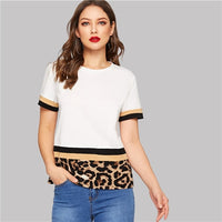 Multicolor Color Block Leopard Print Tee Women Slim Fit T-shirt Summer Stretchy Round Neck Spring Solid T-shirts Top - ibspot