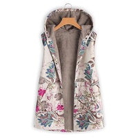 Print Hooded Plus Size Camel Warm Parkas Women Casual Loose Zipper Pockets Cotton Coats Ladies Vintage Hardy Winter Jackets New - ibspot