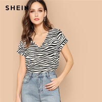 SHEIN Black and White Lady Roll Up Sleeve Zebra Print Casual Top Summer V Neck Regular Streetwear Womens Tops And Blouses - ibspot