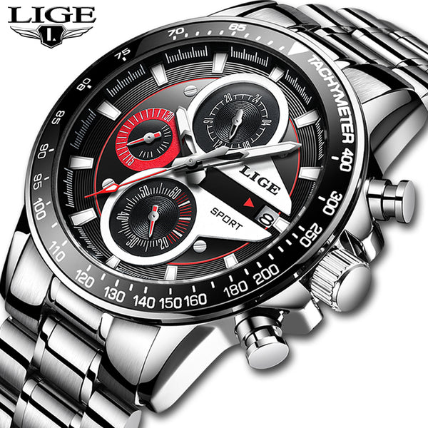 Men Fashion Creative Business Chronograph Quartz Clock Stainless Steel Waterproof Watch - ibspot