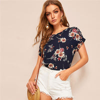 SHEIN Lady Casual Navy V Neck Floral Blouse Women Summer Roll Up Sleeve Curve Hem Streetwear Short Sleeve Blouses Ladies Tops - ibspot