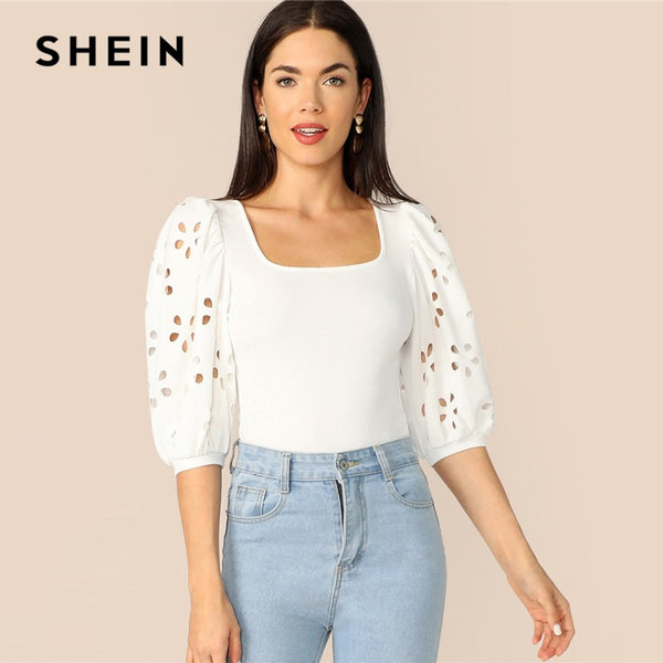 SHEIN Elegant White Laser Cut Lantern Sleeve Fitted Top Scoop Neck Blouse Women Summer 3/4 Length Sleeve Solid Workwear Blouses - ibspot