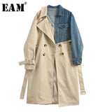 [EAM] 2018 New Spring Summer Lapel Long Sleeve Khaki Hit Color Denim Stitcing Loose Sashes Windbreaker Women Fashion Tide JH638 - ibspot
