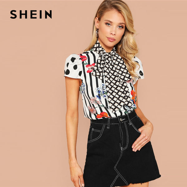 SHEIN Elegant Multicolor Grid Tie Neck Stripe Floral Top Blouse Women Spring Puff Sleeve Stand Collar Cap Sleeve Top Blouses - ibspot