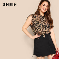 SHEIN Plus Size Women Blouses Tied Neck Sexy Leopard Print Sheer Sleeveless Blouse Ruffle Trim Shoulder Summer Thin Tops Blouses - ibspot