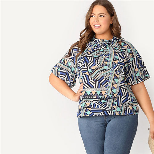 SHEIN Plus Size Tie Neck Flutter Sleeve Geometric Print Womens Tops And Blouses Summer Stand Collar Half Sleeve Ladies Tops - ibspot