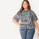 SHEIN Plus Size Tie Neck Flutter Sleeve Geometric Print Womens Tops And Blouses Summer Stand Collar Half Sleeve Ladies Tops