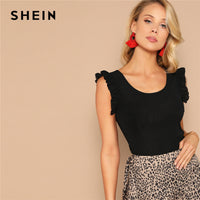 SHEIN Cute Black Ruffle Armhole Rib-knit Fitted Solid Tank Top Women Summer New Scoop Neck Solid Slim Basics Elegant Vests - ibspot