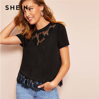 SHEIN Black Eyelash Contrast Lace Hem Embroidered Floral Sheer Plain Tee 2019 Spring Modern Lady Round Neck Women Top Tees - ibspot