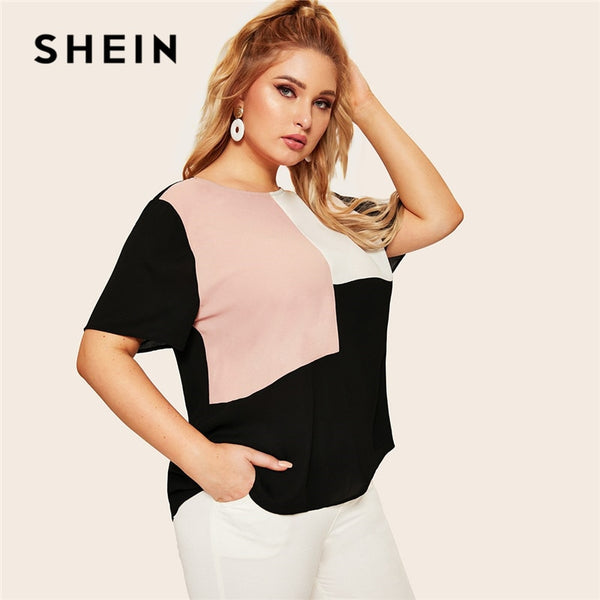 SHEIN Plus Size Keyhole Back Cut-And-Sew Women Blouse Summer Casual Colorblock Round Neck Short Sleeve Blouse Ladies Tops