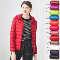 Down jacket women hooded 95% duck down coat Ultra Light warm large size Female Solid Portable stand collar down jacket winter