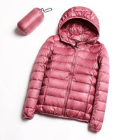 Down jacket women hooded 95% duck down coat Ultra Light warm large size Female Solid Portable stand collar down jacket winter - ibspot
