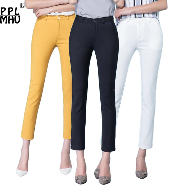 Casual Trousers Women 95% Cotton Elastic Slim Skinny Pants femal Spring Street Wear Pencil Pants Ladys Elegant Office Work Pant - ibspot