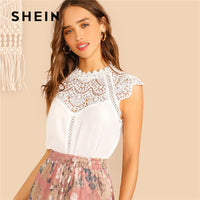 SHEIN Keyhole Back Guipure Lace Mock-Neck Women White Blouse Ladies Tops Summer Casual Sleeveless Stand Collar Solid Blouse