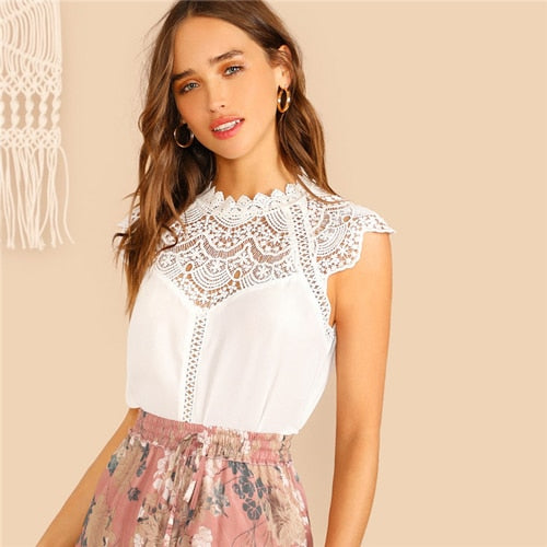 SHEIN Keyhole Back Guipure Lace Mock-Neck Women White Blouse Ladies Tops Summer Casual Sleeveless Stand Collar Solid Blouse - ibspot