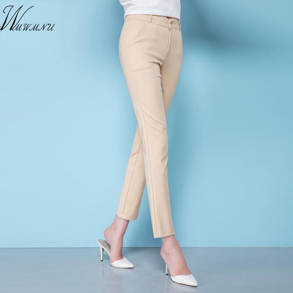 New Fashion Women's Elegant OL Stretch Pants Big Size  Ladies Elastic Waist Casual Trousers Female Office Work Cotton Pants