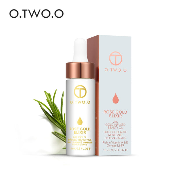 O.TWO.O 24K Rose Gold Elixir Essential Oil Makeup Primer Lips Face Base Make Up Vitamin Moisturizer Easy to Absorb Face Care - ibspot