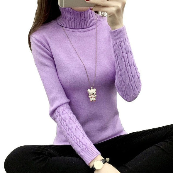 Women Turtleneck Winter Sweater Women 2019 new Long Sleeve Knitted Women Sweaters And Pullovers Female Jumper Tricot Tops QH0812 - ibspot