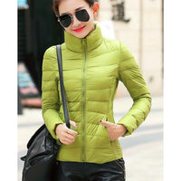 Brand Woman Spring Padded Warm Coat Ultra Light Duck Down Padded Jacket Short Female Overcoat Slim Solid Coat Portable Parkas - ibspot