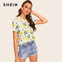 SHEIN Lemon And Polka-dot Fruit And Vegetable Print Tee 2019 Spring Summer Short Sleeve Round Neck Modern Lady Women Top Tees - ibspot