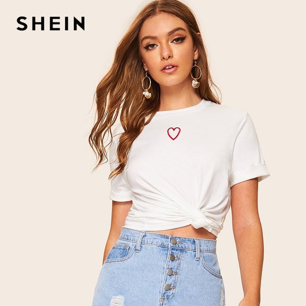 SHEIN Casual White Embroidered Round Neck Tee T Shirt Women Summer 2019 Short Sleeve Streetwear Solid Ladies Tshirt Tops - ibspot