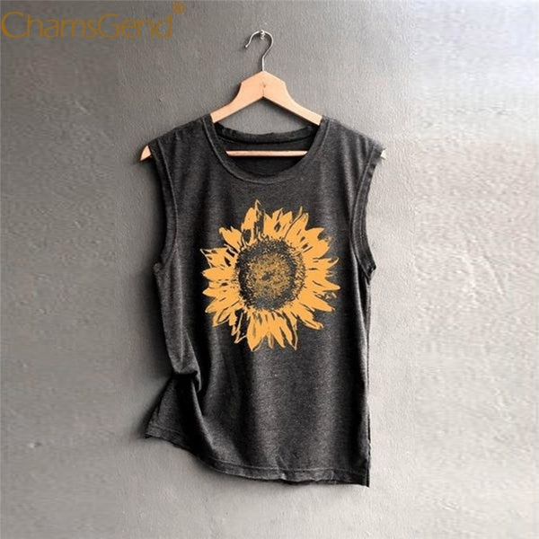 Women Tank Top Vintage Sunflower Print Sleeveless Round Neck Shirts for Woman Female Summer Casual Tanks  90226 - ibspot