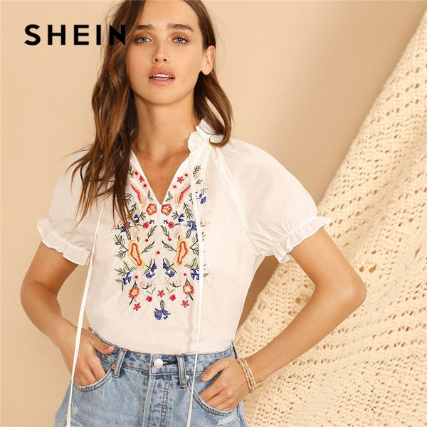 SHEIN Lady Tie Neck Puff Sleeve Flower Embroidered Blouse Stand Collar Ruffle Trim Women White Blouse Summer Shirts And Blouses - ibspot