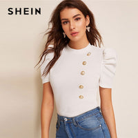 SHEIN Mock-Neck Puff Sleeve Button Front White Blouse Ladies Tops Summer Elegant Slim Fit Solid Short Sleeve Blouse Top - ibspot