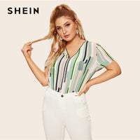 SHEIN Plus Size Multicolor Geometric Half Zip Front Striped And Geo Print Zipper Blouse Women 2019 Spring Casual Top Blouses - ibspot