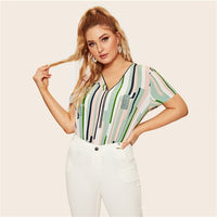 SHEIN Plus Size Multicolor Geometric Half Zip Front Striped And Geo Print Zipper Blouse Women 2019 Spring Casual Top Blouses