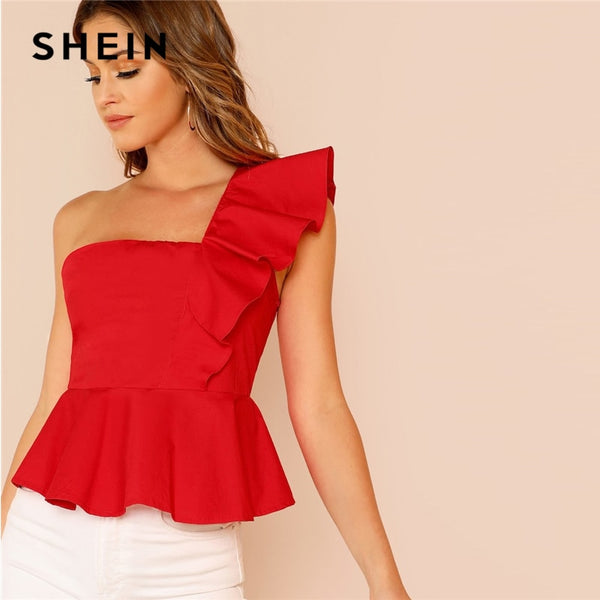 SHEIN Glamorous Red Ruffle Trim One Shoulder Peplum Slim Fit Peplum Plain Top Cap Sleeve Blouse Women Spring Elegant Blouses