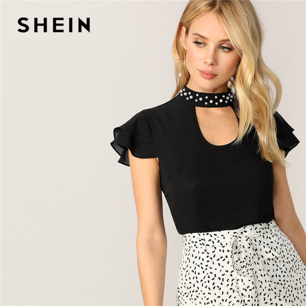 SHEIN Black Elegant Pearl Beaded Choker Neck Layered Ruffle Sleeve Blouse Women Tops Summer Solid Stand Collar Cut Out Lady Tops - ibspot