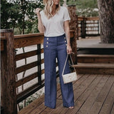 Plus Size 3XL 2019 Summer New Hot Cotton Linen Women Wide Legs Pants Solid Casual High Waist Button Trousers Female Loose Pants - ibspot