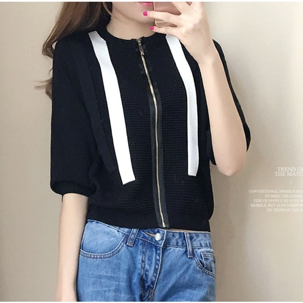 Women Autumn Sweater Cardigans With Zipper Striped Thin Tops Black 2019 Summer Tops Loose Knitted Hollow Out Knitwear Outwear - ibspot