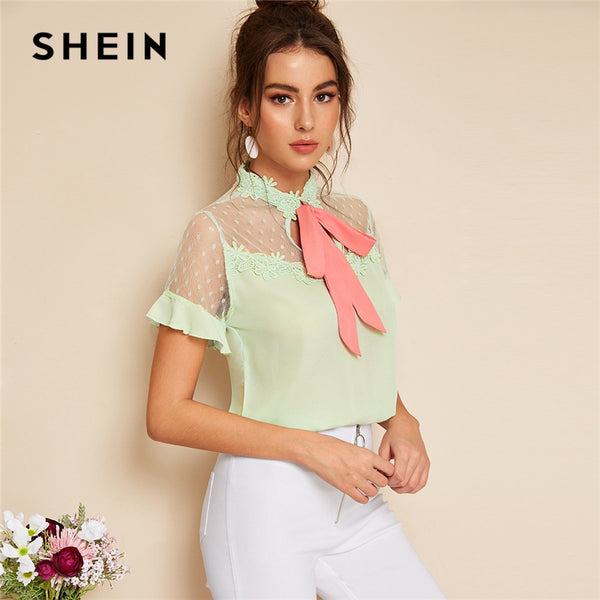 SHEIN Elegant Pastel Green Mesh Yoke Floral Lace Applique Pink Tied Neck Blouse Women Summer Short Sleeve Solid Romantic Blouses