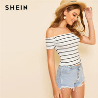 SHEIN Off Shoulder Striped Fitted Crop Top White Cap Sleeve Summer T Shirt Fabulous Style Women Summer Slim Fit 2019 Tees - ibspot