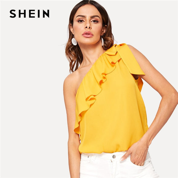 SHEIN Asymmetrical Flounce Trim Knot One Shoulder Top Korean Fashion Casual Solid Summer Sleeveless Womens Tops and Blouses - ibspot