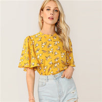SHEIN Zip Back Flutter Sleeve Ditsy Floral Top Prairie Chic Women Clothing Summer Round Neck Yellow Half Sleeve Blouses - ibspot