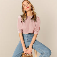 SHEIN Ladies Casual Green Puff Sleeve Keyhole Back Solid Top And Blouse Women 2019 Summer Workwear Half Sleeve Elegant Blouses - ibspot