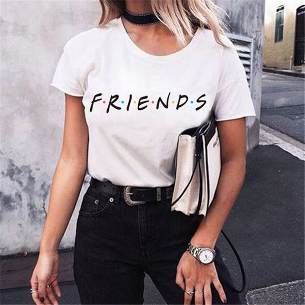 Women Letter Printing Summer Tops Fashion T-Shirt printed Friends TV Show - ibspot
