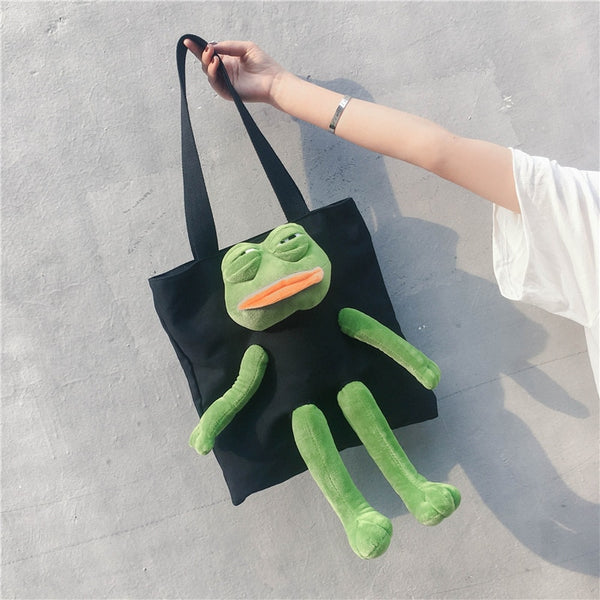 Women Cartoon Sad Frog Canvas and Messenger Bag