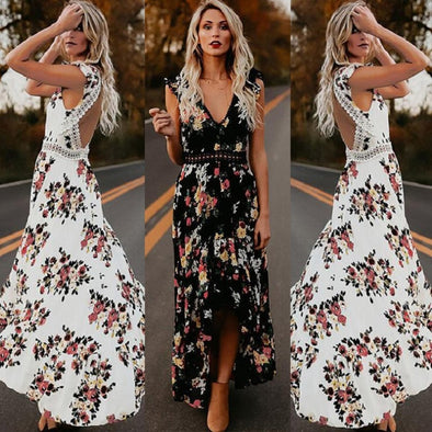 Women's Backless Floral Printed Evening Summer Dress